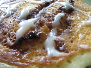 Cinnamon Roll Pancake with Cream Cheese Glaze