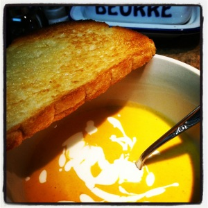 Zesty Pumpkin Soup with Orange Sour Cream