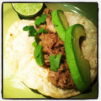 Pork carnitas with avocado, cilantro, and lime.